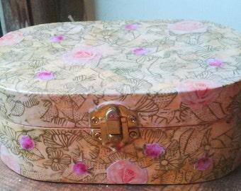 Handmade 'Roses' Decoupage Jewellery/ keepsake box