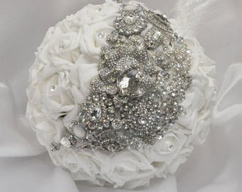 White & Silver Enchanted Bridal Bouquet