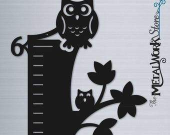 Owl Party Kids Metal Growth Chart