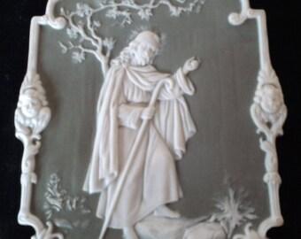 Green Jasperware Jesus  wall plaque