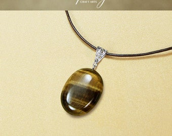 Tigers Eye pendant necklace, Tigers Eye sweater necklace, Oval shape pendant, Genuine Leather necklace, Protection pendant,InfinityCraftArts