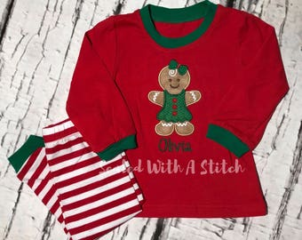 Gingerbread Pajamas - Toddler Christmas Pajamas - Personalized Pjs