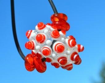 Lampwork focal bead, red white hollow lampwork large glass beads artisan lampwork winter handmade white red polka dot transparent glassround