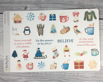 Holiday Themed Decorative Planner Stickers