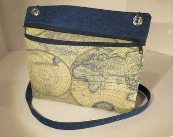 Cross body bag, denim crossbody bag,  global motif bag, shoulder bag