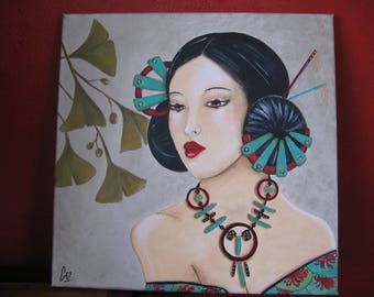painting, painting, woman, geisha, jade, portrait necklace with acrylic, Japan