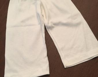 White Organic Cotton Baby Clothes Plain Pants Slacks Size 3-6mo