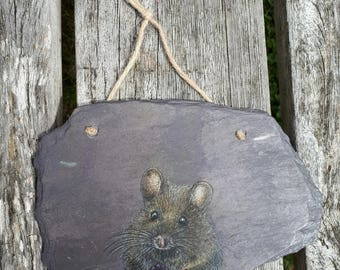 Mouse & Blackberry - Reclaimed Slate Wall Hanging