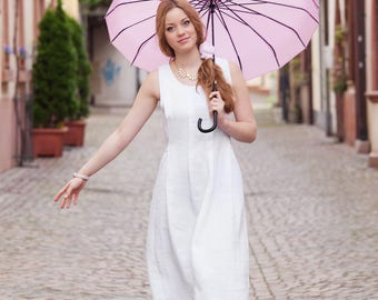 Linen dress, white, summer dress, Gr. 38/40