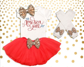 Baby Girl 4th of July Outfit Fourth of July Shirt Girl's Fourth of July Outfit Girl 4th of July Outfit America Y'all 4th of July Tutu