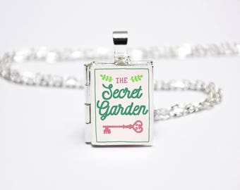 The Secret Garden Book Locket Charm. Book Charm. Book Necklace. Book Jewellery. Literary Gift. Literary Jewelry. Silver Locket Library