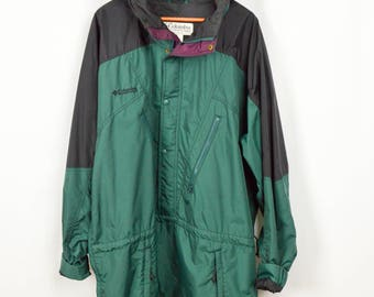 Plus Size 90s Windbreaker, Columbia Jacket, Vintage Clothing, 90s Clothing, 90s Clothes, Grunge Jacket, Oversized Jacket, XXL Tall, Nylon