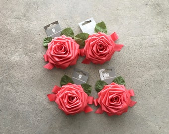New Old Stock   Red Rose Ribbon Bows   x4