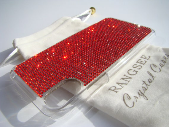 iPhone X Case Red Siam Rhinestone Crystals on Transparent Clear iPhone X Case. Velvet Pouch Included,