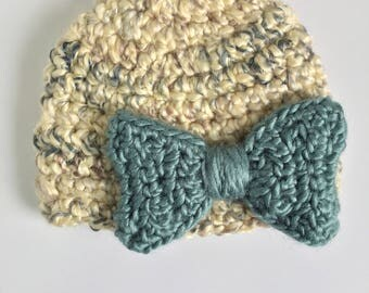 Teal Bow Beanie, Ready to Ship, Newborn Crochet Hat, Baby Girl Hat, Newborn Crochet Beanie, Bow Beanie, Baby Shower Gift Girl