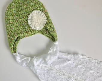 Lace Ribbon Earflap Hat, Ready to Ship, Baby Girl Hat, Crochet Baby Hat, Crochet Ribbon Hat, Flower Hat, Earflap Hat, Baby Girl Earflap Hat