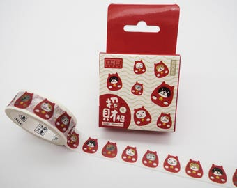 Daruma washi tape, Japanese washi tape, cat washi tape, cute planner tape, Daruma doll, masking tape, kawaii washi tape, cute washi tape
