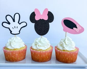 Minnie mouse cupcake toppers | Minnie mouse party | Disney cupcake toppers | Minnie mouse party decor | Glitter cake topper | Disney party