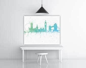 Watercolor London Skyline Print, City Print Art, London Print, England Poster, Cityscape Painting, Skyline Download, Great Britain Decor
