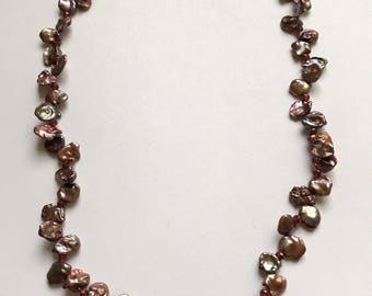Wine Keishi Pearls with Garnets Necklace