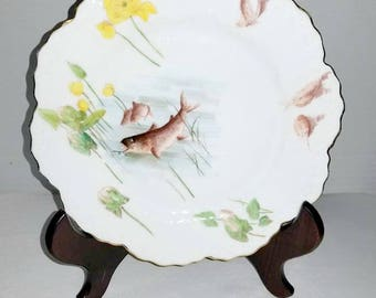 Antique Limoges France,Wm Guerin,Hand Painted Plate,Guerin Limoges,France,Mark 3,Scalloped,Antique,Porcelain,Whiteware,Limoges Plate w/ Fish