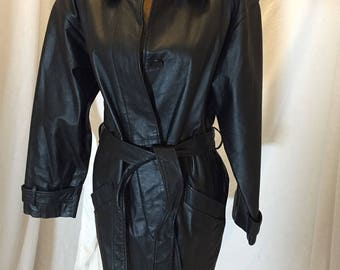Vintage Bagatelle Women's Black Leather Belted Jacket Mid Length Front Buttons Size 10