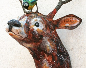 Deer head decor/deer head wall mount/faux taxidermy deer/paper mache deer/french country decor/bohemian chic/cottage decor/woodland creature