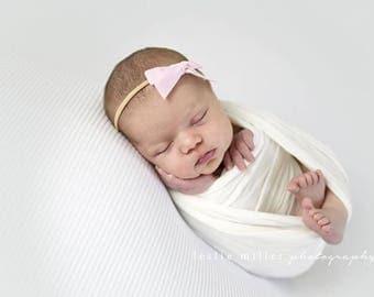 BALLET VINTAGE VELVET Skinny Hand-tied Bow (Headband or Clip)- velvet bow headband; velvet bow; newborn headband; baby headband; toddler bow