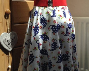 Full circle, retro vintage style handmade swing skirt with teapots, rock n roll, reenactment, fifties, rockabilly skirt size 10