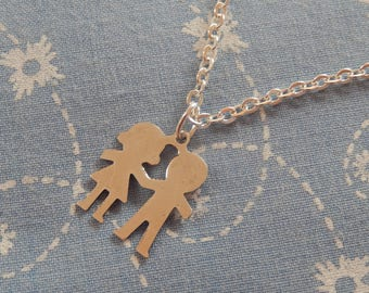 Little Couple Holding Hands Silver Plated Charm Pendant Necklace