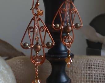 Autumn Song Earrings - Tri-lobal Filigree, Boho-Inspired