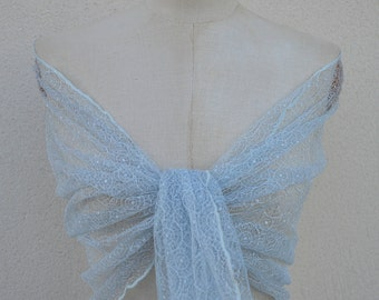 Stole Calais lace, light blue lace scarf, lace woman, elegant shawl stole Bridal, evening blue burp, blue shawl
