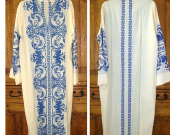 Vintage Giras Greek Ivory Blue Thread Embroidered Long Boho Caftan Women's Dress Made in Greece Cotton Blend