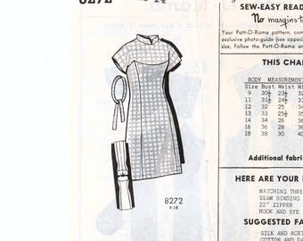 "1960s Sheath Dress Shaped Yoke Mandarin Collar PATT-O-RAMA 8272 bust 34"" Retro Dress Pattern Vintage Dress Princess Seams Straight Dress"