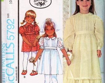 Laura Ashley Dress Girls Prairie Dress Vintage Girls Dress Pattern McCALLS 5792 Girls Size 10 Dress Girls Long Dress Empire Waist Dress