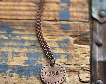 Hygge Necklace   Hand-stamped Minimalist Copper Pendant Jewelry Hygge Life Hygge Gift