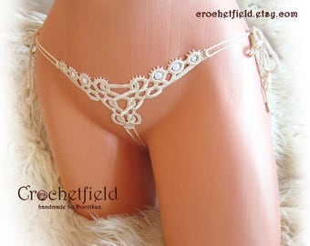 Mini open thong, ivory ouvert panties, crochet, embroidery lace, micro g-string, erotic lingerie, handmade, gift for her, crotchless