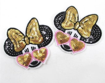1 Piece - Adorable Minnie in Sunglasses Embroidery Patch with Sequins iron on with glue - Approx. 3.3 inches for Hair bow Center