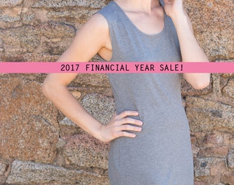 SALE Grey Bamboo Jersey Slip Dress. Australian Made. Perfect for Summer Beach Hangs, or Evening Nighty