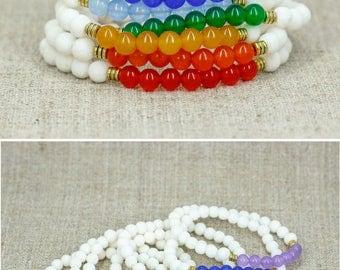 Yoga gift-for-her gift Yoga bracelet 7 chakra bracelet set Chakra jewelry Chakra crystal 7 chakra stone 7 chakra healing bracelet Chakra set