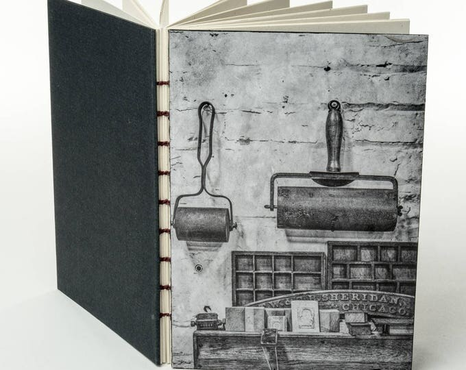 HAMILTON TYPE MUSEUM small handmade coptic bound blank book diary journal notebook original cover photo variation | aBoBoBook 165