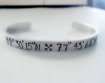 Hand Stamped Custom Coordinates Cuff Bracelet, Handstamped Aluminum Cuff Latitude Longitude Bracelet, Personalized Gift, Adjustable Bracelet