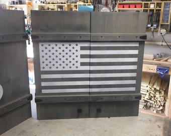 Dartboard Cabinet, handmade cabinet, customized, reclaimed wood, weathered gray