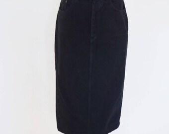 VTG Calvin Klein Black Denim Pencil Midi Skirt