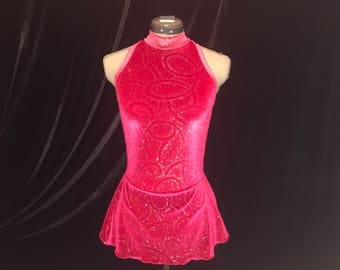 Red and Silver Ice Figure Skating Competition Dress Girls SMALL, MEDIUM, LARGE and Adult Sm 4 - 6