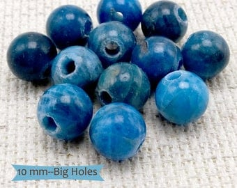Natural Color Apatite Gemstone Beads Large Holes--10 Pcs. | APA-10-10
