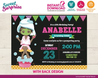 INSTANT DOWNLOAD, Editable Spa Birthday Invitation, Spa Invitation, Spa Birthday Party, Girl Birthday, Birthday Invitation,  Ladies Night
