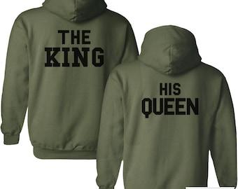 King & Queen Hoodies Set, Couple Hoodies, Military Green Hoodies - 552