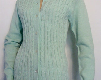 1960s Sweater Cardigan Cable Mint Green Vanguard Acrylic Size 36
