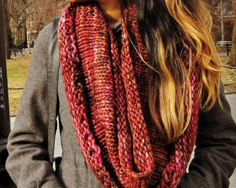 Red Oxidation - Long Hand Knit Infinity Scarf or Cowl - Hand dyed yarn